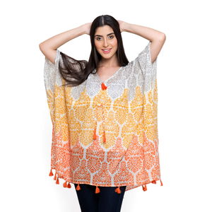 Orange and Tangerine 100% Cotton V-Neck Poncho with Tassels (Free Size)