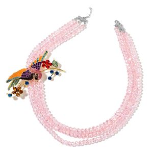 TLV Pink Glass, Multi Color Austrian Crystal, Enameled Silvertone Sparrow Brooch With Multi Strand Bead Necklace (22 in)