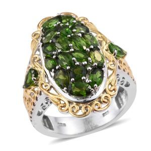 Russian Diopside 14K YG and Platinum Over Sterling Silver Openwork Ring (Size 7.0) TGW 4.860 cts.