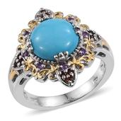 Arizona Sleeping Beauty Turquoise, Mozambique Garnet, Amethyst 14K YG and Platinum Over Sterling Silver Openwork Ring (Size 7.0) TGW 5.96 cts.