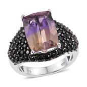 Anahi Ametrine, Thai Black Spinel Platinum Over Sterling Silver Ring (Size 8.0) TGW 7.05 cts.