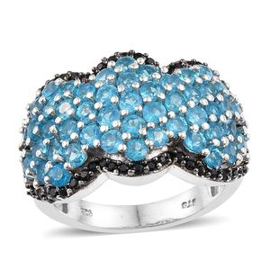 Malgache Neon Apatite, Thai Black Spinel Platinum Over Sterling Silver Cluster Ring (Size 6.0) TGW 4.560 cts.