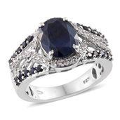 Kanchanaburi Blue Sapphire, White Zircon Platinum Over Sterling Silver Split Ring (Size 8.0) TGW 5.54 cts.