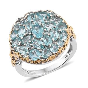 Madagascar Paraiba Apatite 14K YG and Platinum Over Sterling Silver Cluster Ring (Size 8.0) TGW 5.46 cts.
