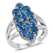 Malgache Neon Apatite Platinum Over Sterling Silver Ring (Size 8.0) TGW 3.180 cts.