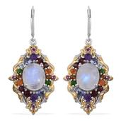 Sri Lankan Rainbow Moonstone, Multi Gemstone 14K YG and Platinum Over Sterling Silver Lever Back Earrings TGW 12.64 cts.