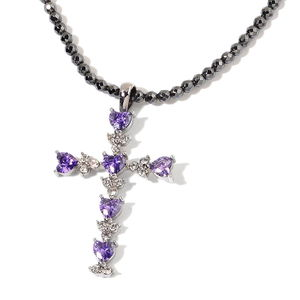 Simulated Purple Diamond, Hematite, Austrian Crystal Stainless Steel Cross Pendant With Bead Necklace (18-20 in) TGW 60.00 cts.