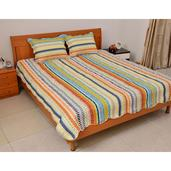 Multi Color Stripe Print Microfiber Quilt and Set of 2 Shams (King)
