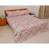 Red and Aqua Floral Print Microfiber Quilt and Set of 2 Shams (King)