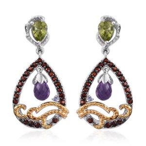 GP Amethyst, Multi Gemstone 14K YG and Platinum Over Sterling Silver Dangle Earrings TGW 5.160 Cts.