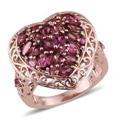 Pink Tourmaline 14K RG Over Sterling Silver Openwork Heart Ring (Size 5.0) TGW 3.030 cts.