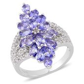 Tanzanite, White Topaz Sterling Silver Ring (Size 7.0) TGW 3.578 cts.