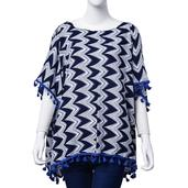 J Francis - Navy Blue Zigzag Print 100% Viscose Kimono with Royal Blue Tassels