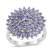 Tanzanite Platinum Over Sterling Silver Cluster Ring (Size 8.0) TGW 3.13 cts.