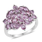 Madagascar Pink Sapphire Platinum Over Sterling Silver Floral Cluster Ring (Size 9.0) TGW 3.92 cts.
