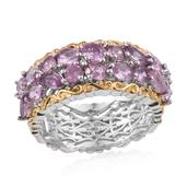 Madagascar Pink Sapphire 14K YG and Platinum Over Sterling Silver Openwork Band Ring (Size 8.0) TGW 3.160 cts.