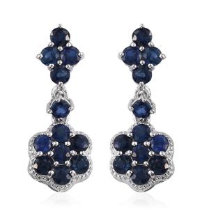 Kanchanaburi Blue Sapphire Platinum Over Sterling Silver Dangle Earrings TGW 3.36 cts.