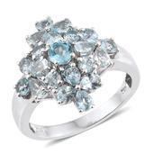 Madagascar Paraiba Apatite Platinum Over Sterling Silver Ring (Size 9.0) TGW 3.26 cts.