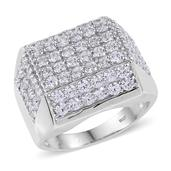 J Francis - Platinum Over Sterling Silver Wide Cluster Men's Ring Made with SWAROVSKI ZIRCONIA (Size 14.0) 0 TGW 8.640 cts.