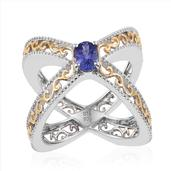 Premium AAA Tanzanite 14K YG and Platinum Over Sterling Silver Openwork Criss Cross Ring (Size 9.0) TGW 0.85 cts.