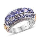 Tanzanite, White Topaz 14K YG and Platinum Over Sterling Silver Butterfly Band Ring (Size 7.0) TGW 3.230 cts.