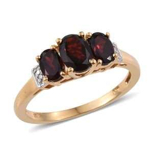 Mozambique Garnet 14K YG Over Sterling Silver 3 Stone Ring (Size 7.0) TGW 1.95 cts.
