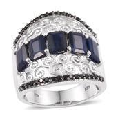 Kanchanaburi Blue Sapphire, Thai Black Spinel Platinum Over Sterling Silver Ring (Size 6.0) TGW 6.270 cts.