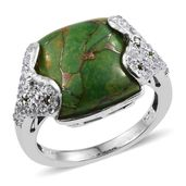 Mojave Green Turquoise, Russian Diopside, White Topaz Platinum Over Sterling Silver Ring (Size 7.0) TGW 11.970 cts.