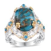 Mojave Blue Turquoise, Malgache Neon Apatite 14K YG and Platinum Over Sterling Silver Openwork Ring (Size 8.0) TGW 12.800 cts.