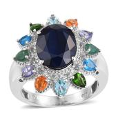Kanchanaburi Blue Sapphire, Multi Gemstone Platinum Over Sterling Silver Ring (Size 7.0) TGW 8.15 cts.