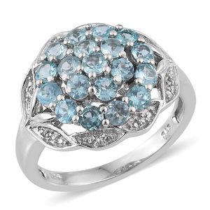 Madagascar Paraiba Apatite, White Topaz Platinum Over Sterling Silver Cluster Ring (Size 10.0) TGW 2.47 cts.