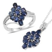 Kanchanaburi Blue Sapphire Platinum Over Sterling Silver Ring (Size 8) and Pendant With Chain (20 in) TGW 4.86 cts.