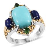 Sonoran Blue Turquoise, Lapis Lazuli, Russian Diopside 14K YG and Platinum Over Sterling Silver Openwork Ring (Size 8.0) TGW 7.91 cts.