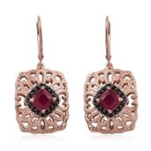 GP Niassa Ruby, Thai Black Spinel 14K RG Over Sterling Silver Lever Back Earrings TGW 5.56 cts.