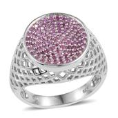 Madagascar Pink Sapphire Platinum Over Sterling Silver Openwork Signet Ring (Size 6.0) TGW 0.90 cts.