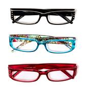 Set of 3 Floral Print and Rhinestone Readers Glasses +2.5