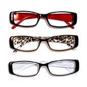 DOD Black Red, Leopard and Zebra Print Set of 3 Readers Glasses + 2.5