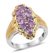 Madagascar Pink Sapphire 14K YG and Platinum Over Sterling Silver Elongated Ring (Size 8.0) TGW 1.75 cts.