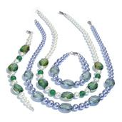 Simulated Lavender and White Pearl, Green and Lavender Glass Silvertone Necklaces (20.00 In) and Set of 2 Bracelets