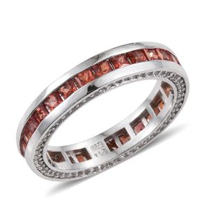 Orange Sapphire, White Topaz Platinum Over Sterling Silver Eternity Band Ring (Size 7.0) TGW 3.37 cts.