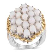 Australian White Opal 14K YG and Platinum Over Sterling Silver Cluster Ring (Size 6.0) TGW 4.750 cts.