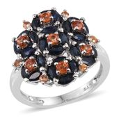 Multi Sapphire Platinum Over Sterling Silver Cluster Ring (Size 7.0) TGW 4.030 cts.