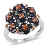 Multi Sapphire Platinum Over Sterling Silver Cluster Ring (Size 9.0) TGW 4.030 cts.