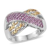 Madagascar Pink Sapphire 14K YG and Platinum Over Sterling Silver Openwork Criss Cross Ring (Size 6.0) TGW 0.60 cts.