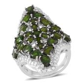 Russian Diopside Sterling Silver Openwork Elongated Ring (Size 7.0) TGW 9.62 cts.