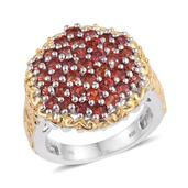 Sunset Sapphire 14K YG and Platinum Over Sterling Silver Engraved Cluster Ring (Size 9.0) TGW 4.260 cts.