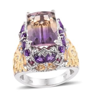 Anahi Ametrine, Multi Gemstone 14K YG and Platinum Over Sterling Silver Ring (Size 7.0) TGW 10.170 cts.