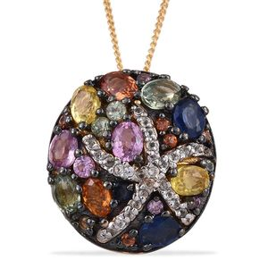Multi Sapphire, White Topaz 14K YG and Platinum Over Sterling Silver Cluster Pendant With Chain (20 in) TGW 2.935 Cts.