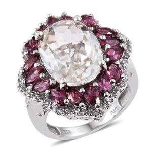 XIA Kunzite, Orissa Rhodolite Garnet, White Topaz Platinum Over Sterling Silver Split Statement Ring (Size 6.0) TGW 14.400 cts.