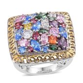 J Francis - 14K YG and Platinum Over Sterling Silver Statement Ring Made with Multi Color SWAROVSKI ZIRCONIA (Size 5.0) TGW 9.78 cts.